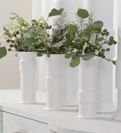 White Collar Vases