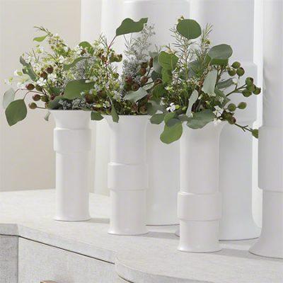 White Collar Vases