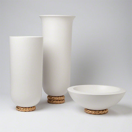 Golden Ceramic Rope Vase and Bowl