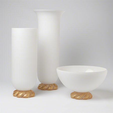 Golden Glass Rope Vase and Bowl