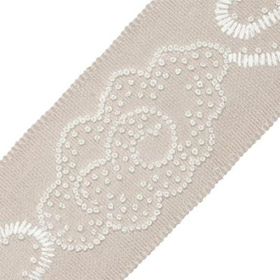 """China Cloud Embroidered Border in """"Flax"""" 