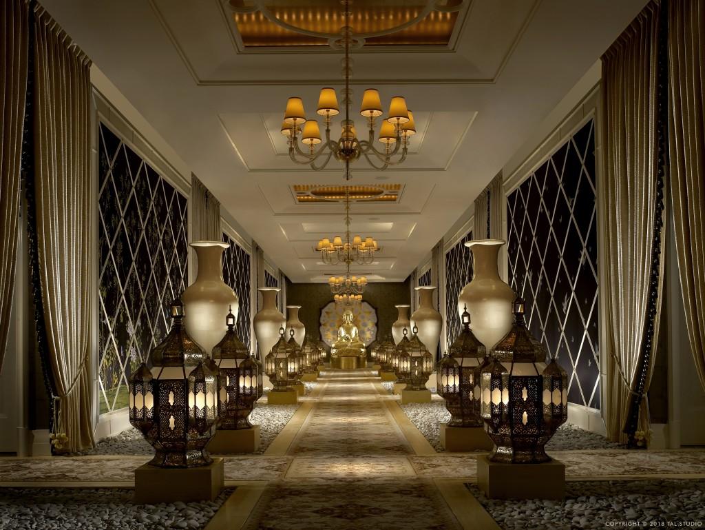 The corridor at the Encore Spa
